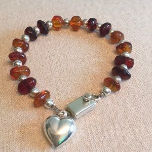 Jewelry - Amber and Silver Beaded Bracelet